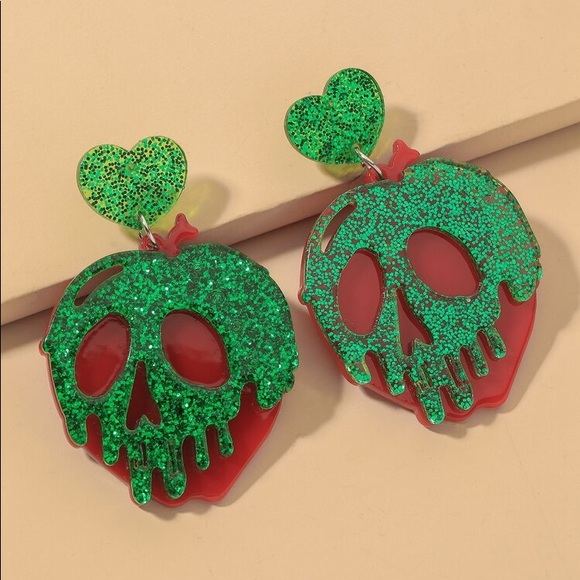 Snow White poison apple earrings
